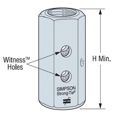 Simpson CNW5/8 Coupling Nut with Witness Hole