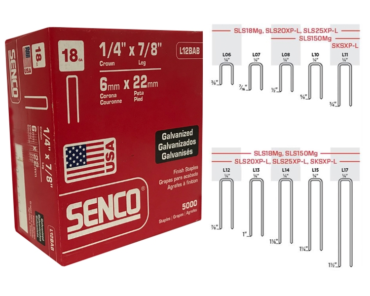 Senco L12bab 1 4 Crown X 7 8 Length 18 Gauge Narrow Crown Staples
