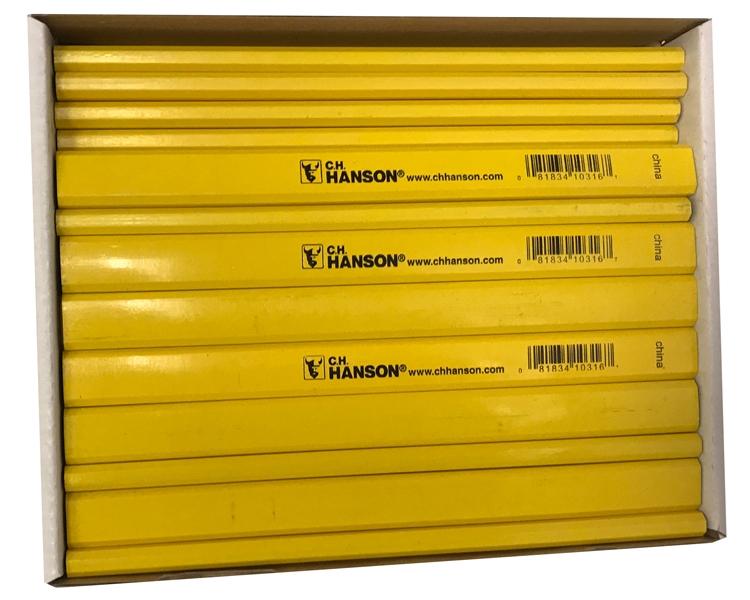C H HANSON  FLAT CARPENTER PENCILS YELLOW  X2 of free postage