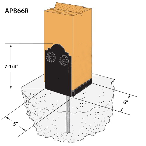6 Pk Simpson Strong-Tie 6 X 6 Outdoor Accents APB Black ZMAX Post Base APB66